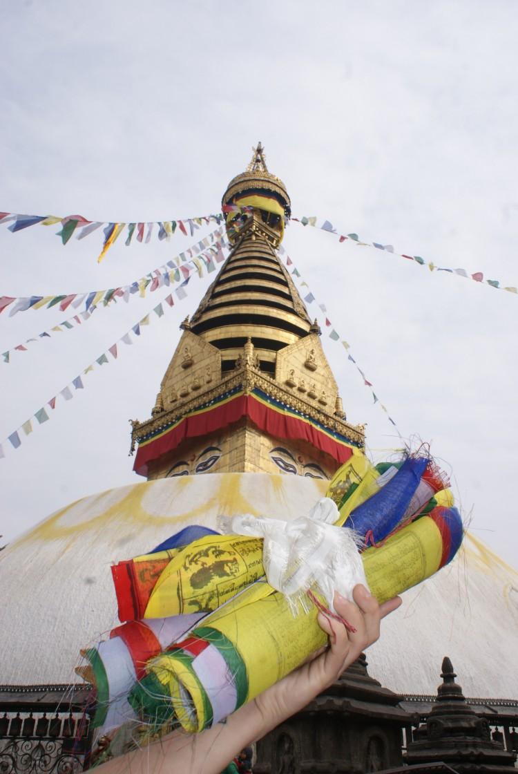 gebedsvlaggen Kathmandu Monkey temple
