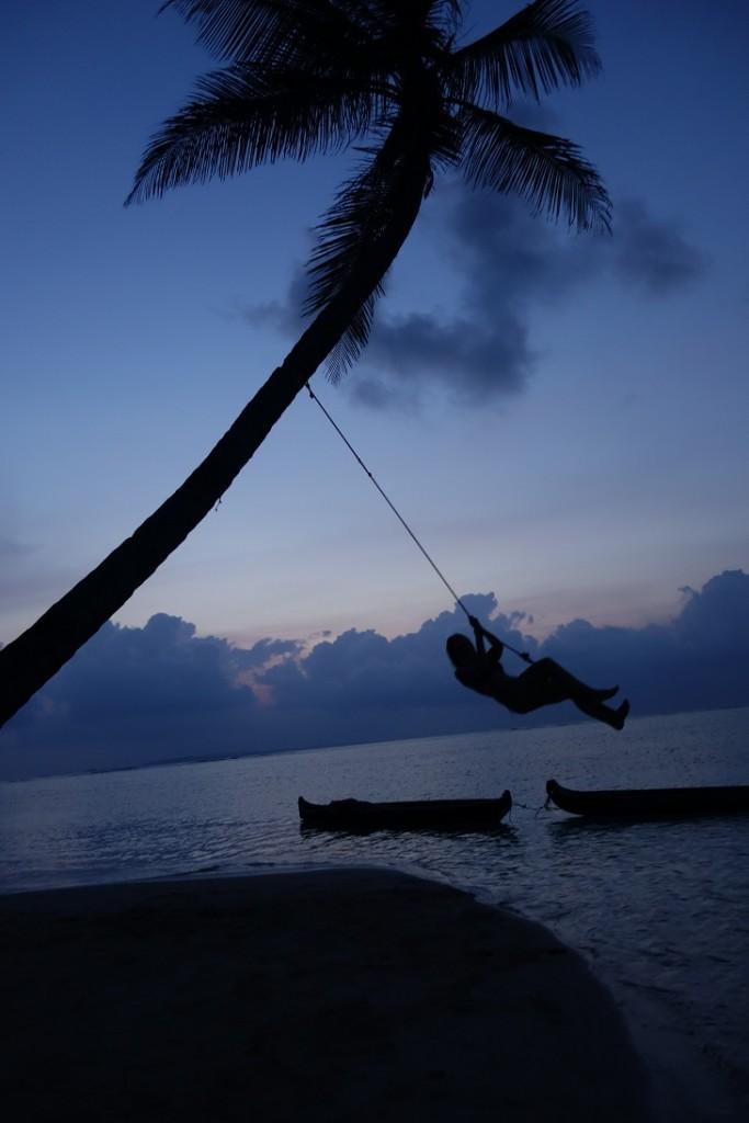 San Blas eiland zeilen palmboom slingeren